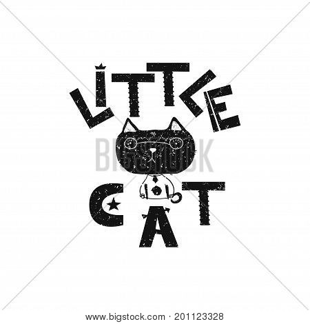 Little cat. Hand drawn style typography poster. Greeting card, print art or home decoration in Scandinavian style. Scandinavian design black and white. Vector illustration