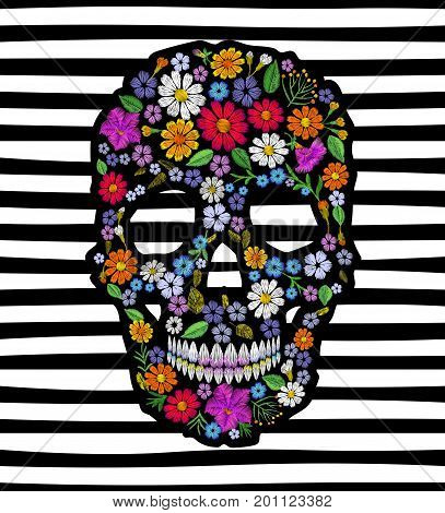 Vintage embroidered flower skull. Muertos Dead Day Fashion design decoration print. Marigold daisy chamomile beautiful isolated on black white striped background. Greeting vector