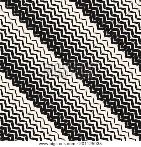 Diagonal seamless pattern. Vector halftone transition background. Abstract monochrome geometric texture. Zig zag wavy stripes.