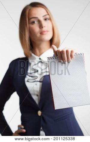 Success In Business, Job And Education Concept.portrait Of Young Beautiful Businesswoman With Clipbo