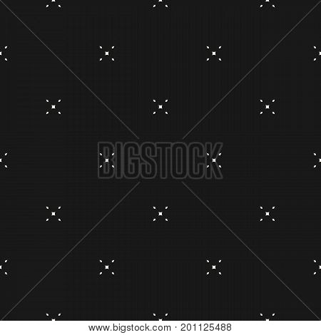 Vector minimalist pattern with tiny diamond shapes. Delicate black seamless texture. Subtle geometric background. Elegant design element for decoration, prints, web, textile, fabric, covers, wrapping. X pattern, cross pattern.