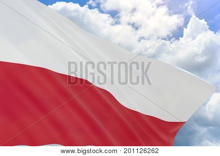 3D Rendering Of Poland Flag Waving On Blue Sky Background