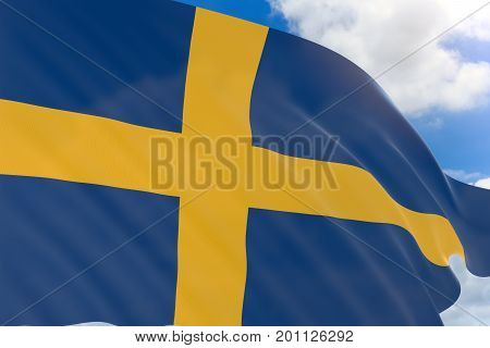 3D Rendering Of Sweden Flag Waving On Blue Sky Background