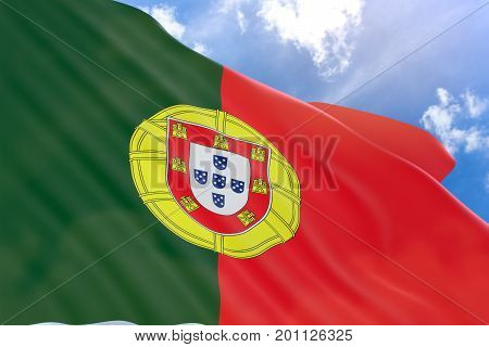 3D Rendering Of Portugal Flag Waving On Blue Sky Background