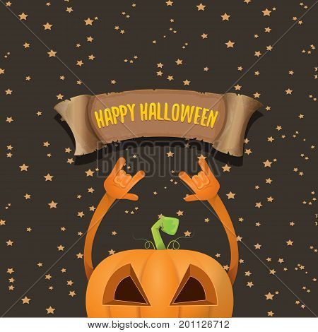 vector halloween funky rock n roll pumpkin character and vintage ribbon with text happy halloween on stars background. Happy halloween rock party concept poster or background