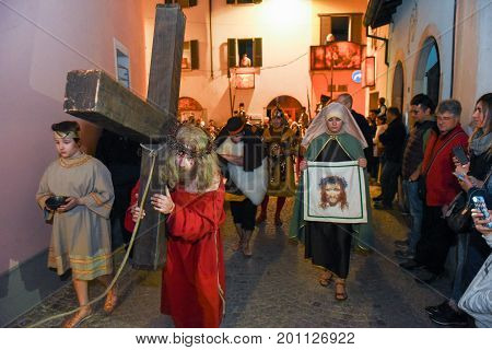 Annual Procession Of The Crucifixion Of Jesus Christ At Easter