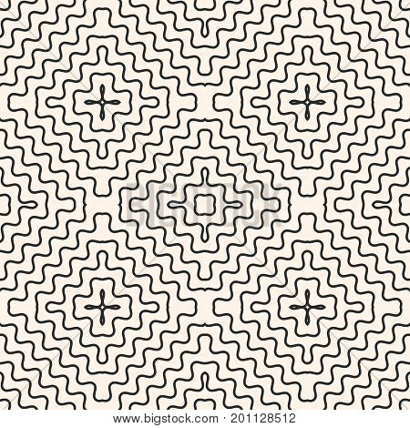 Geometric seamless pattern with concentric wavy lines, smooth zigzag shapes. Abstract monochrome background texture, repeat tiles