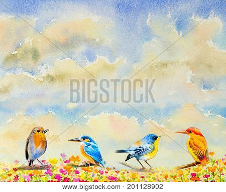 Group cute baby birds watercolor painting original realistic on paper in the flowers with sky and cloud background.