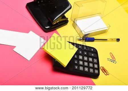 Hole Punch, Pen, Notes Paper Clips And Other Office Tools