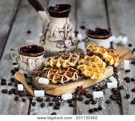 Waffers With Coffee