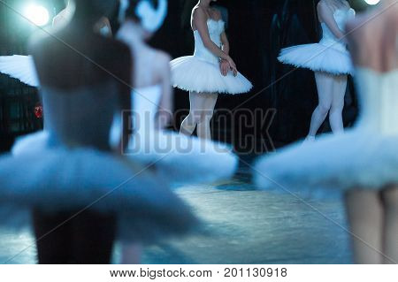 art, ballet, entertainment concept. few light sillhouettes are out of focus and young girls, ballet dancers, in tutus and white tights standing still like marble statues