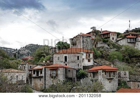 Beautiful traditional achitecture on mountain of Mainalo.Stemnitsa village in Greece.