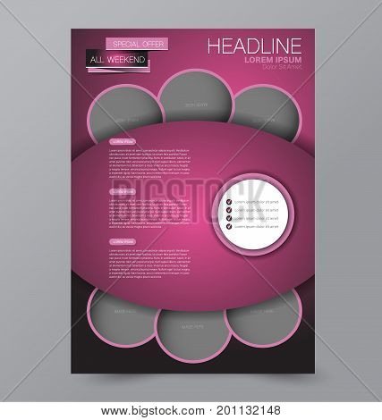 Business brochure template. Flyer design. Annual report cover. Booklet for education, advertisement, presentation, magazine page. a4 size vector illustration. Pink color.