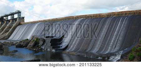 hydroelectric barrage waterfall river durable power electricity energy