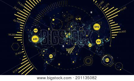 HUD futuristic interface global technology and telecommunication network, Vector world map of world analytics
