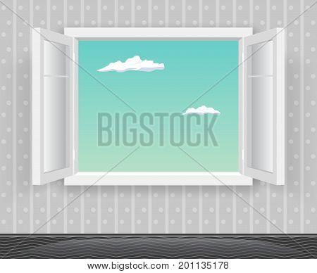 Open Glass Window Frame Cartoon Interior Home Design Template Background Vector Illustration