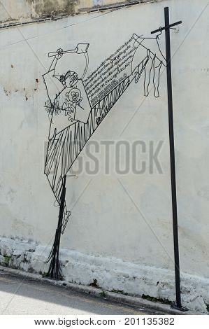 Georgetown/Malaysia - September 2012: Installations of wire in the historic center of Georgetown Penang Malaysia.