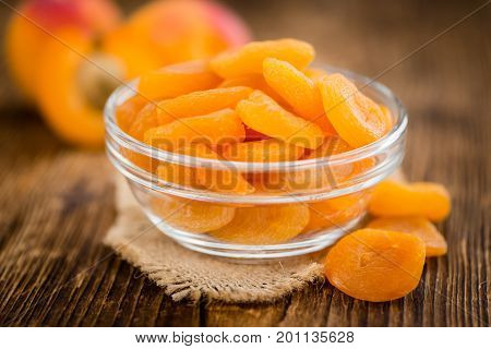 Apricots (dried) On Wooden Background (selective Focus)