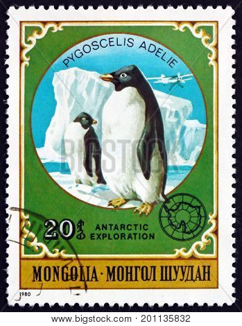 MONGOLIA - CIRCA 1980: a stamp printed in Mongolia shows Adelie penguin pygoscelis adelie is a species of peguin common along the entire Antarctic coast circa 1980