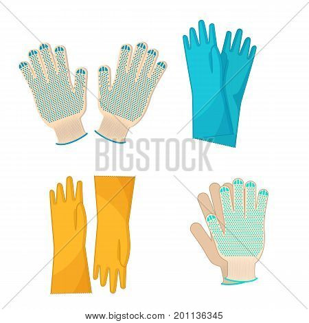 Work glove set. Vector fabric and rubber gloves isolated on white background.