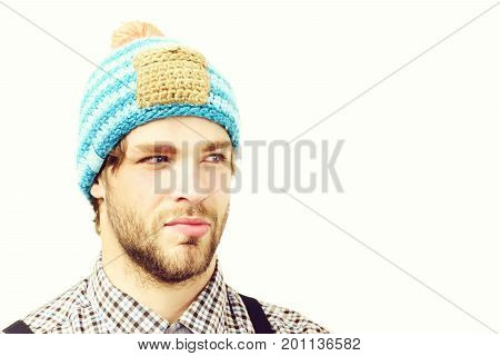 Man In Winter Hat And Plaid Shirt On White Background