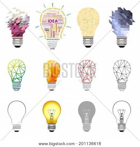 vector collection of light bulbs. set of conceptual, technology, idea, creative design elements icons