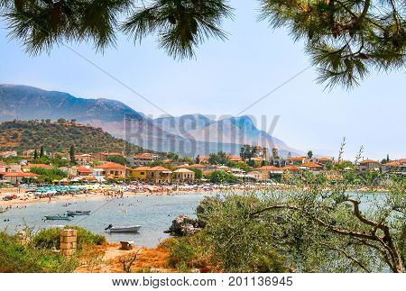 View of Stoupa beach located in Messinia Greece.