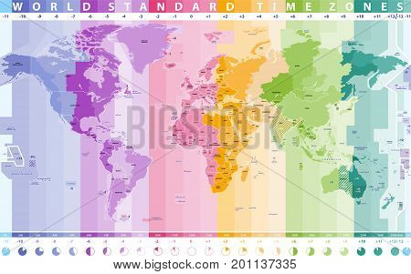 world standard time zones vector high detailed map