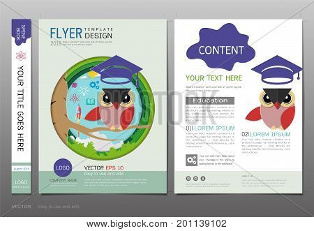 Covers book design template vector, Owl teacher with graduation cap, Space rocket launch and knowledge icons, Symbol of wisdom and educational success, Use for brochure, annual report, flyer - leaflet, magazine, poster, corporate presentation, portfolio,