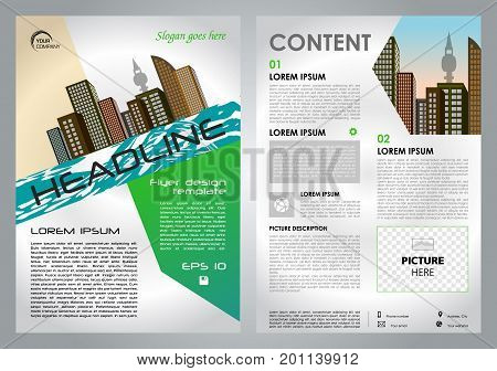 Vector Flyer, Corporate Business, Annual Report, Brochure Design And Cover Presentation With Green C