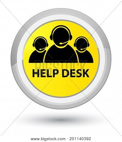 Help Desk (customer Care Team Icon) Prime Yellow Round Button