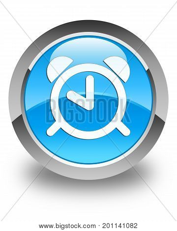 Alarm Clock Icon Glossy Cyan Blue Round Button