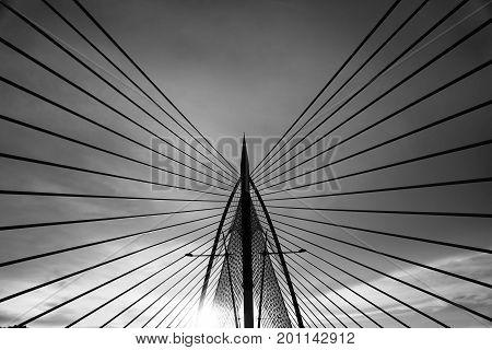 Modern bridge architecture at Putrajaya on a black and white