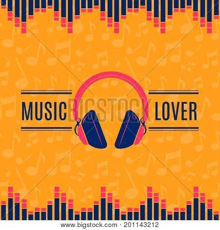 Vector music lover headphones illustration on musical notes background. Music listening lover earphone