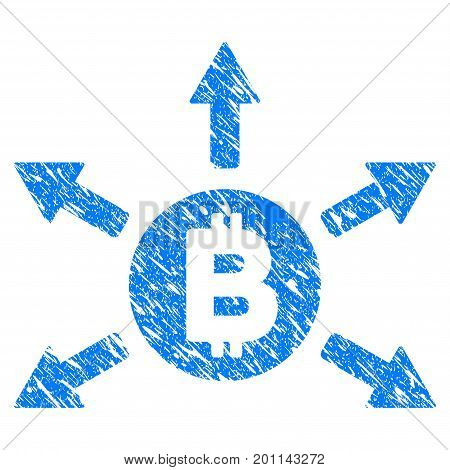 Grunge Bitcoin Emission icon with grunge design and unclean texture. Unclean vector blue pictogram for rubber seal stamp imitations and watermarks. Draft sticker symbol.