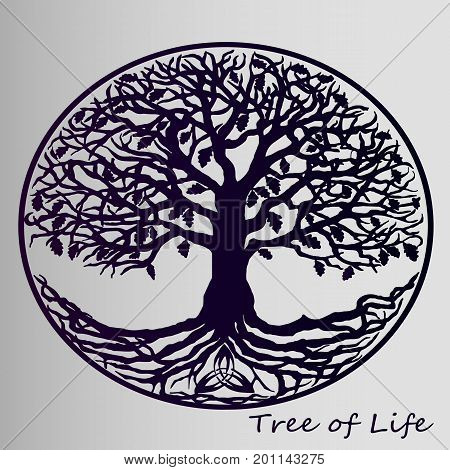 Violet life tree on gray gradient background. A symbol of family values.