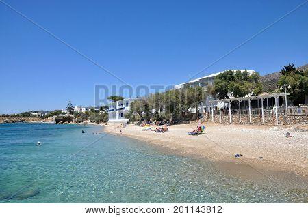Drios beach in sunny day on Paros island Cyclades Greece