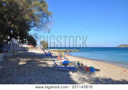 Drios Paros island Greece - July 4 2017: Drios beach in sunny day on Paros island Cyclades Greece