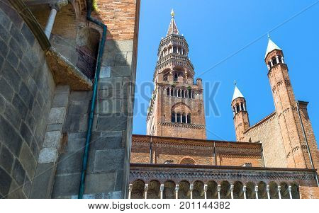 Italy Cremona the apse of the cathedral and the 'Torrazzo'
