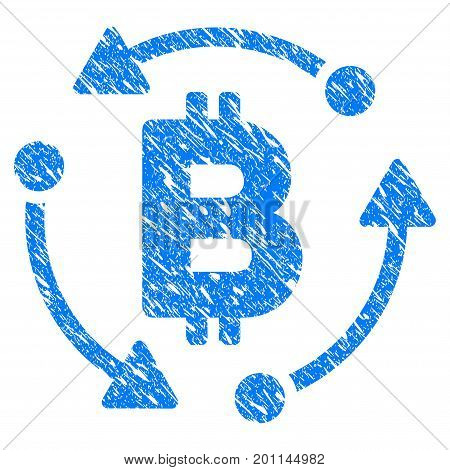 Grunge Bitcoin Rotation icon with grunge design and dust texture. Unclean vector blue pictogram for rubber seal stamp imitations and watermarks. Draft sign symbol.