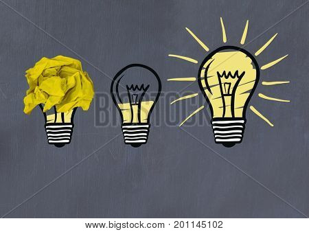 Digital composite of light bulbs with crumpled paper ball in front of blackboard