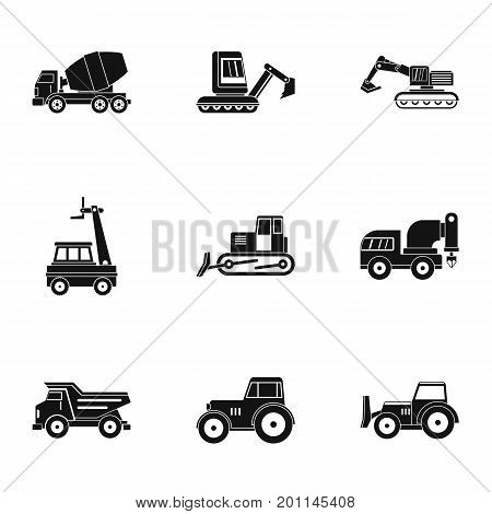 Heavy vehicle icon set. Simple set of 9 heavy vehicle vector icons for web isolated on white background