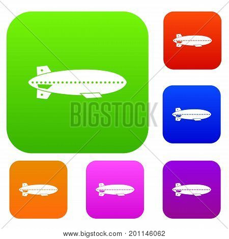 Dirigible balloon set icon in different colors isolated vector illustration. Premium collection