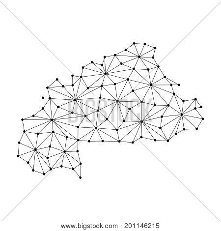 Burkina Faso map of polygonal mosaic lines network rays and dots vector illustration.