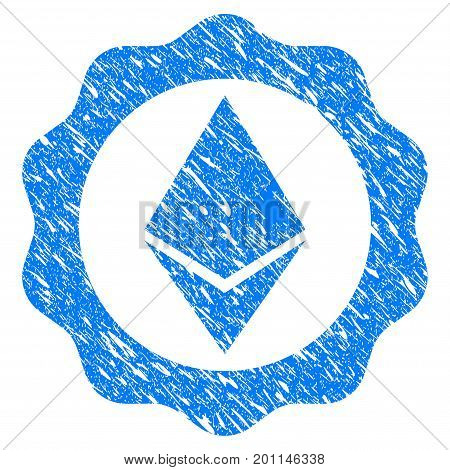 Grunge Ethereum Badge Seal icon with grunge design and dirty texture. Unclean vector blue pictogram for rubber seal stamp imitations and watermarks. Draft emblem symbol.