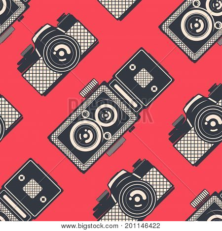 Retro seamless pattern with vintage camera, vector background