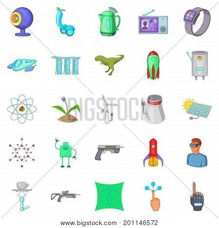 Future technology icons set. Cartoon set of 25 future technology vector icons for web isolated on white background