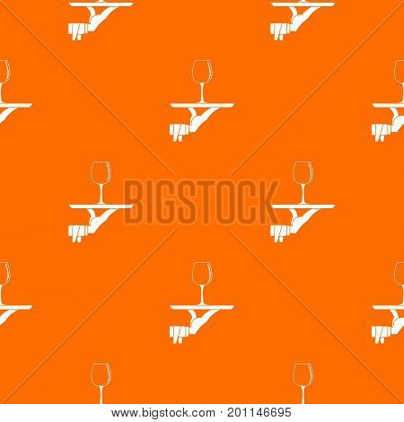 Waiter hand holding tray with wine glass pattern repeat seamless in orange color for any design. Vector geometric illustration