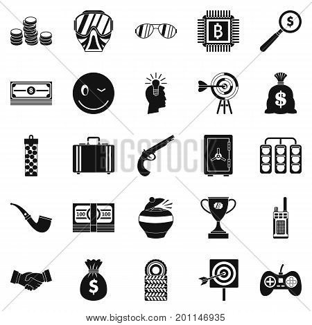 Gambling icons set. Simple set of 25 gambling vector icons for web isolated on white background