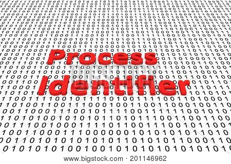 Process identifier in the form of binary code, 3D illustration poster